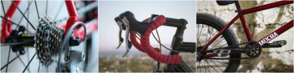 קולאז' תמונות של חלקי האופניים: גלגלי שיניים בגלגל אחורי, הגה של אופני ספורט מקצועיים, פדלים ושלדה