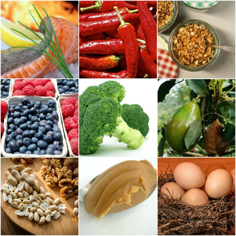 קולאג' תמונות של מזונות בריאיים להורדה במשקל
