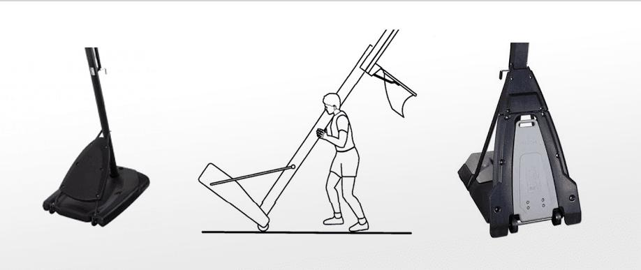 אופן הניוד של מתקן סל עם גלגלים