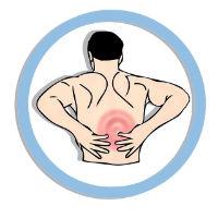 איור של גבר שאוחז בגב התחתון
