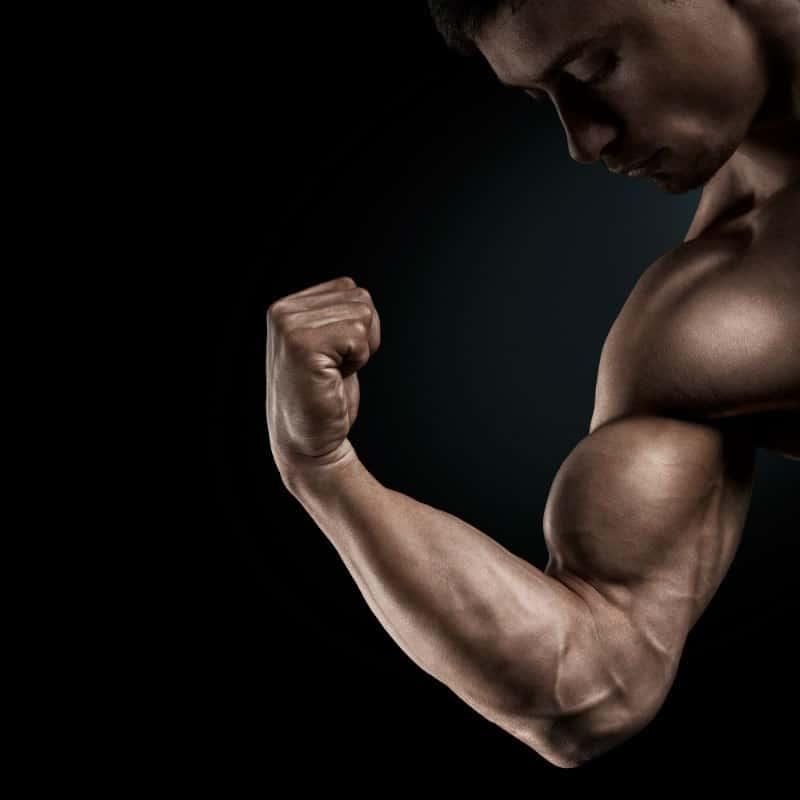 תמונת תקריב על שריר זרוע של גבר