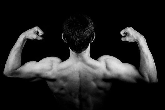 מבט על גב של גבר שעושה שרירים