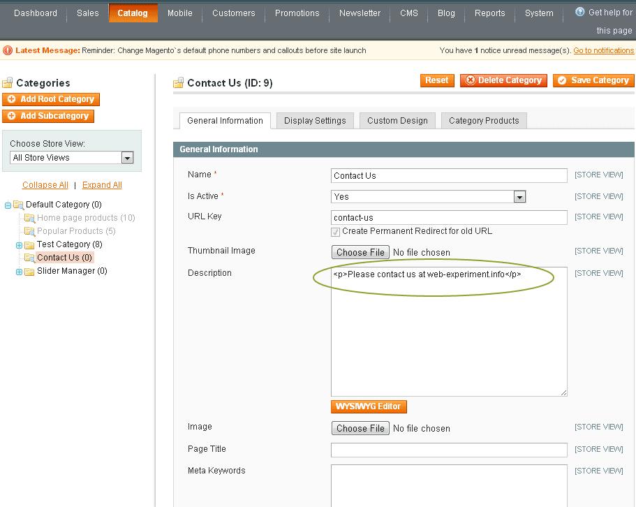 Add static page in Magento main navigation menu