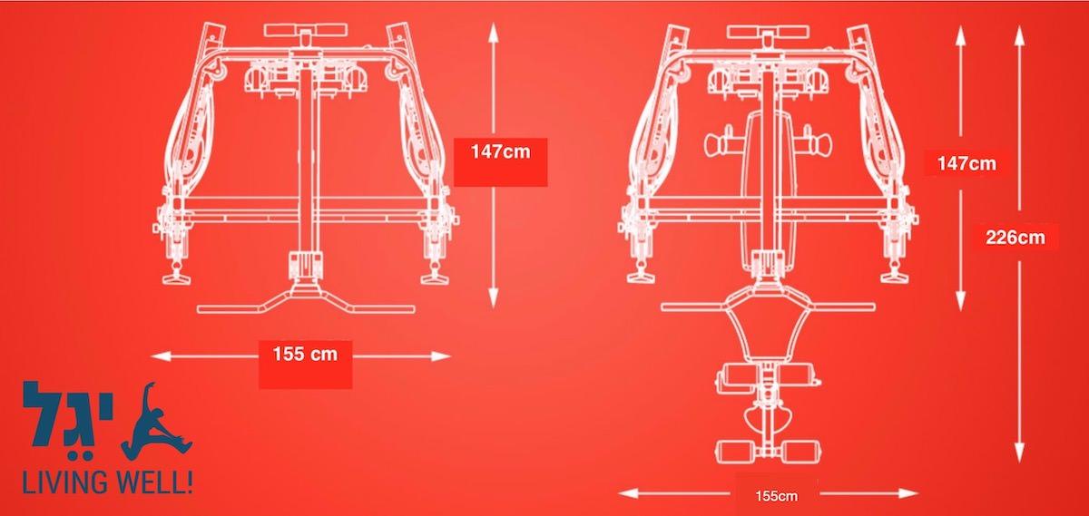 מולטי טריינר משולב סמיט משיין דגם FT2 מבית INSPIRE - מידות אורך גובה ורוחב